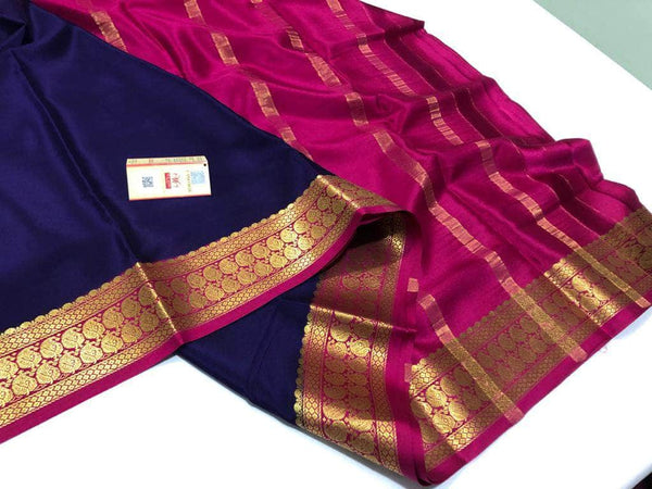South Silk Saree in Navy - Saree - FashionVibes
