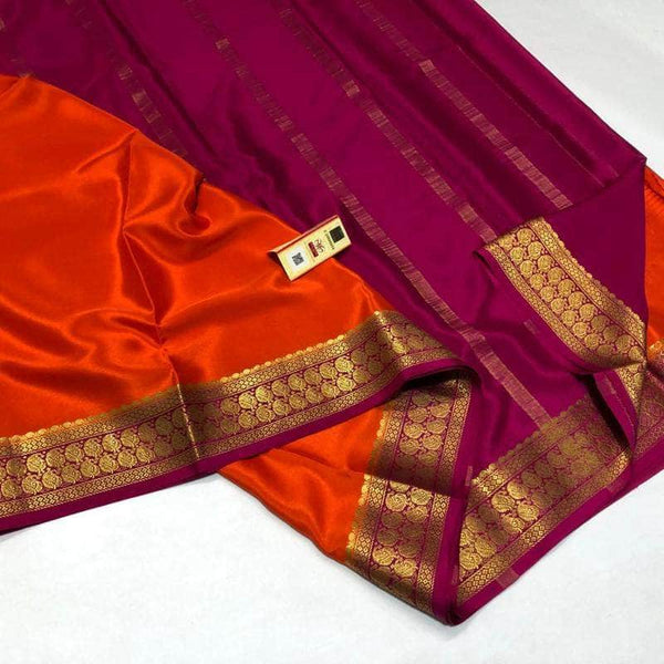 South Silk Saree in Orange - Saree - FashionVibes