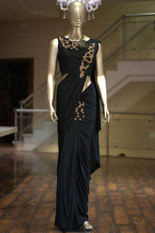 Thread and Sequin Embroidered Georgette Saree in - Saree - FashionVibes
