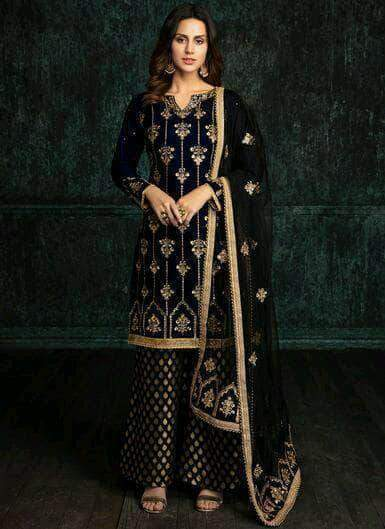 Tissue Silk Plazo Suit in - Salwar Suit - FashionVibes