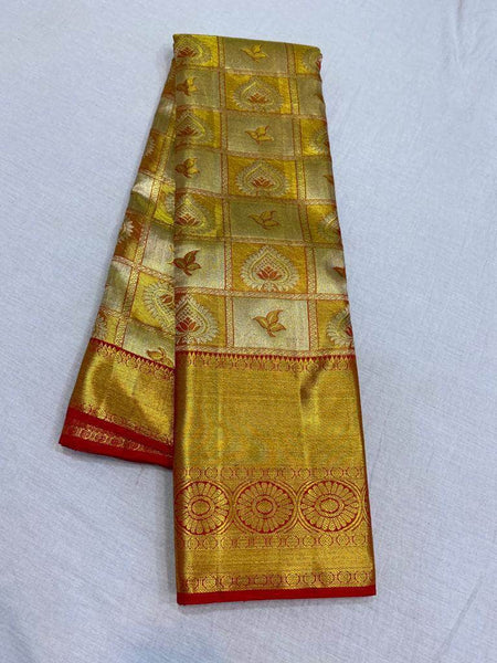 Trendy Kanjivaram Silk Saree in Gold - Saree - FashionVibes