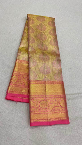Trendy Kanjivaram Silk Saree in LightPink - Saree - FashionVibes