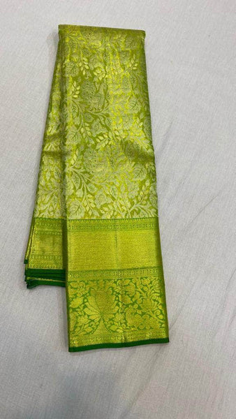 Trendy Kanjivaram Silk Saree in ParrotGreen - Saree - FashionVibes