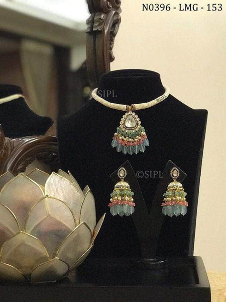Trendy Kundan Necklace Set in Gray - Jewelry - FashionVibes