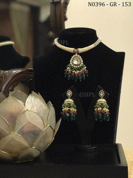 Trendy Kundan Necklace Set in Green - Jewelry - FashionVibes
