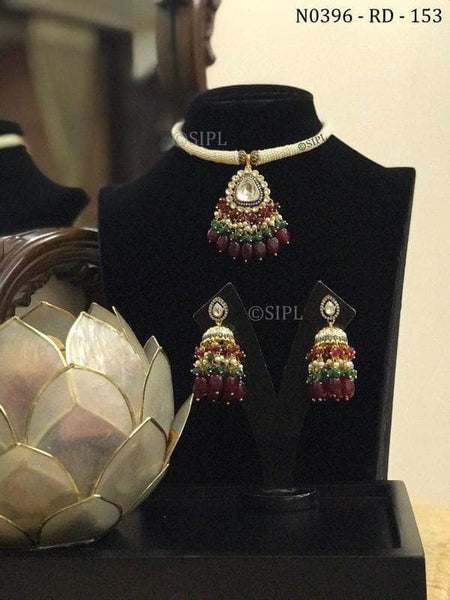 Trendy Kundan Necklace Set in Red and Green - Jewelry - FashionVibes