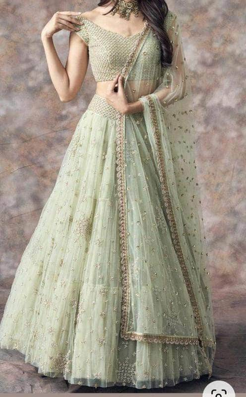 Trendy Pure Georgette Sequin Hand Work Lehenga in - Lehenga - FashionVibes