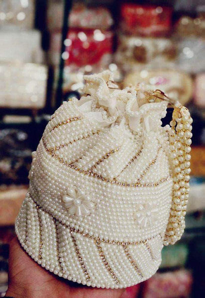 Wedding Cream Pearl Potli Purse/ Clutch in - Shoes & Cluthes - FashionVibes