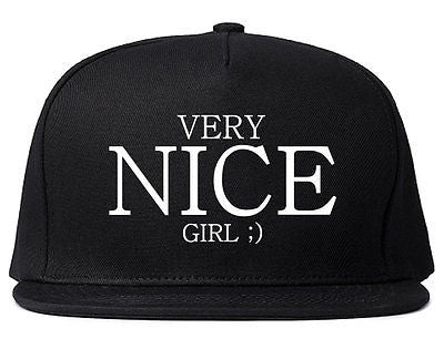 Very Nice Girl Emoji Smiley Face Black Snapback Hat