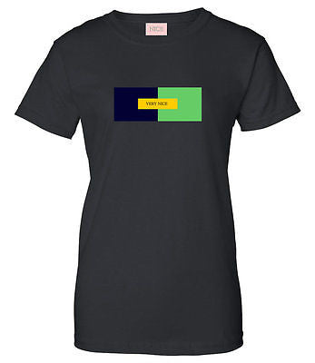 Very Nice Color Block Logo Boyfriend Womens T-Shirt Tee