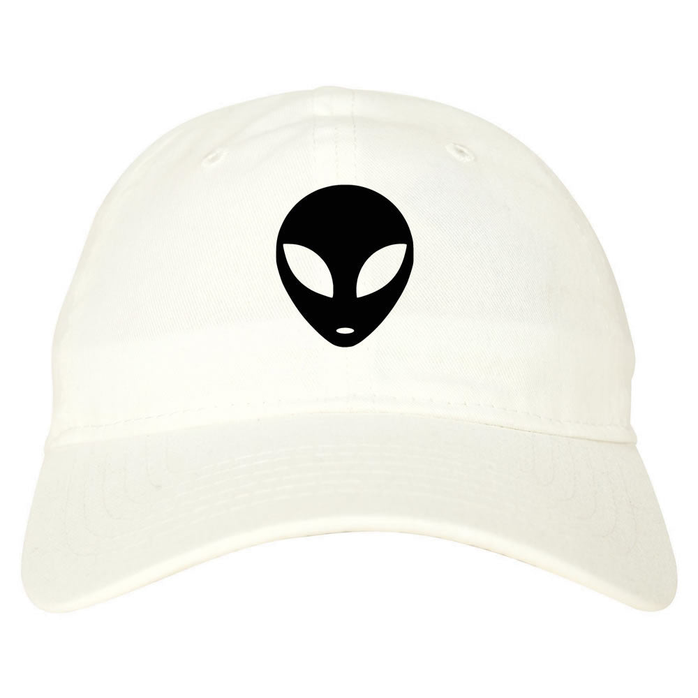 Alien Head Dad Hat White