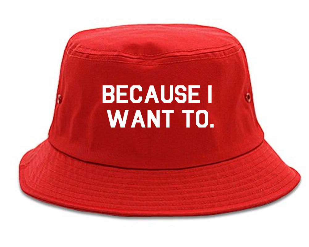 Very Nice Because I Want To Black Bucket Hat Red
