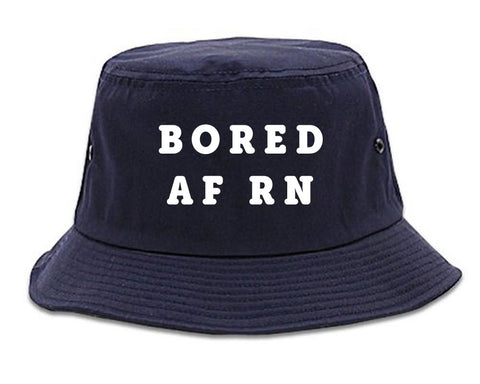 Very Nice Bored AF RN Black Bucket Hat Navy Blue