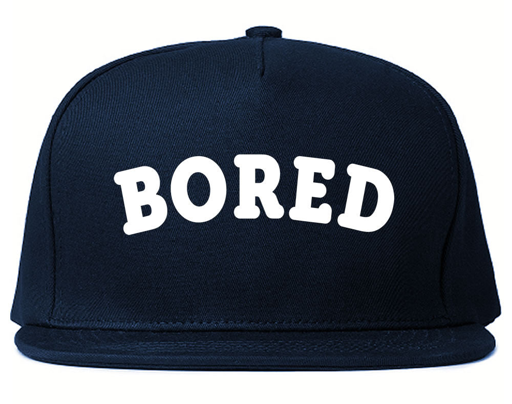 Very Nice Bored Arch Lazy Black Snapback Hat Navy Blue