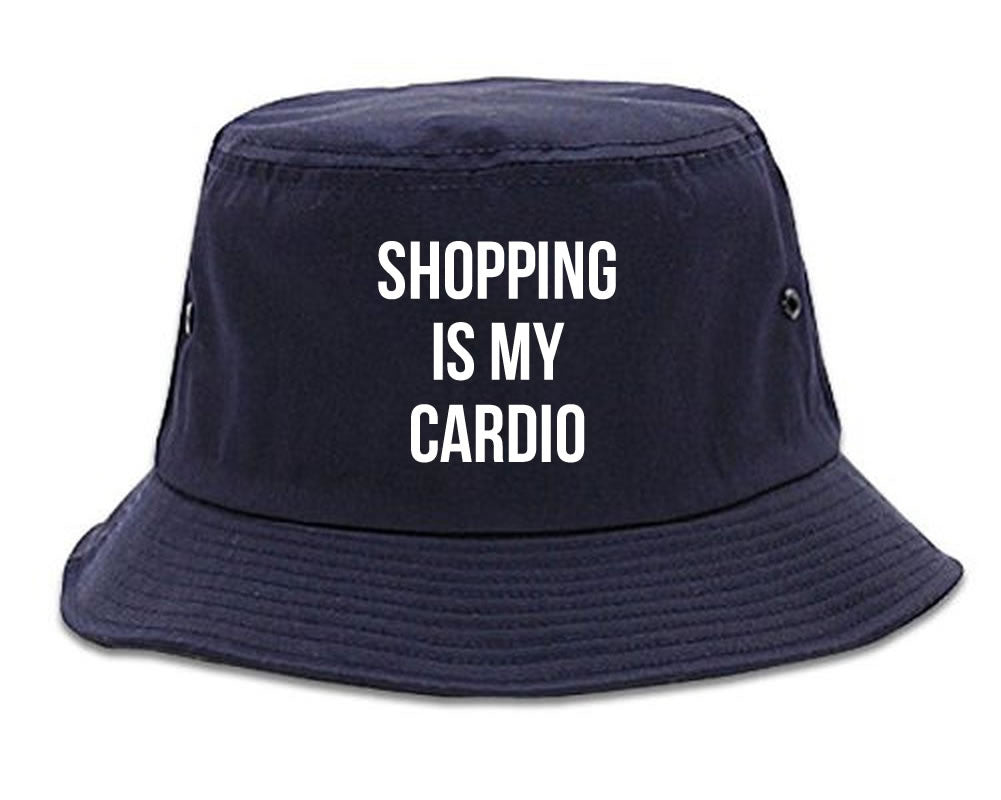 Very Nice Shopping Is My Cardio Black Bucket Hat Navy Blue