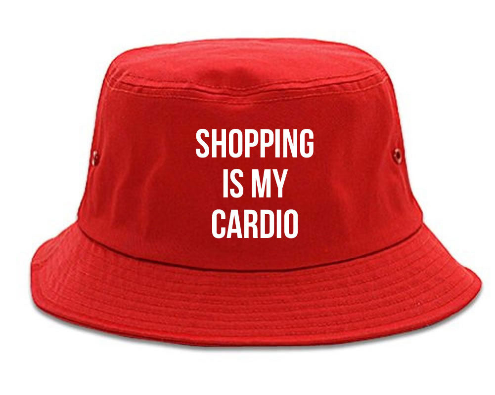 Very Nice Shopping Is My Cardio Black Bucket Hat Red