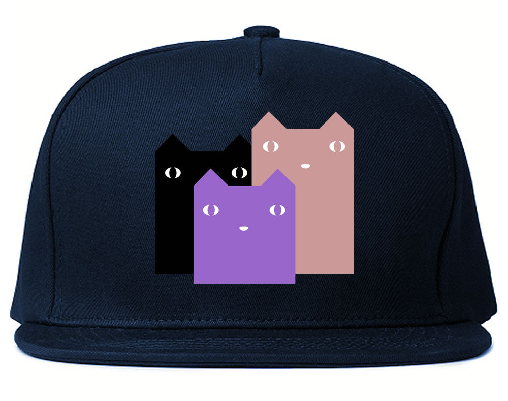 Very Nice Colorful Cute Cats Kitten Kitty Snapback Hat Navy Blue