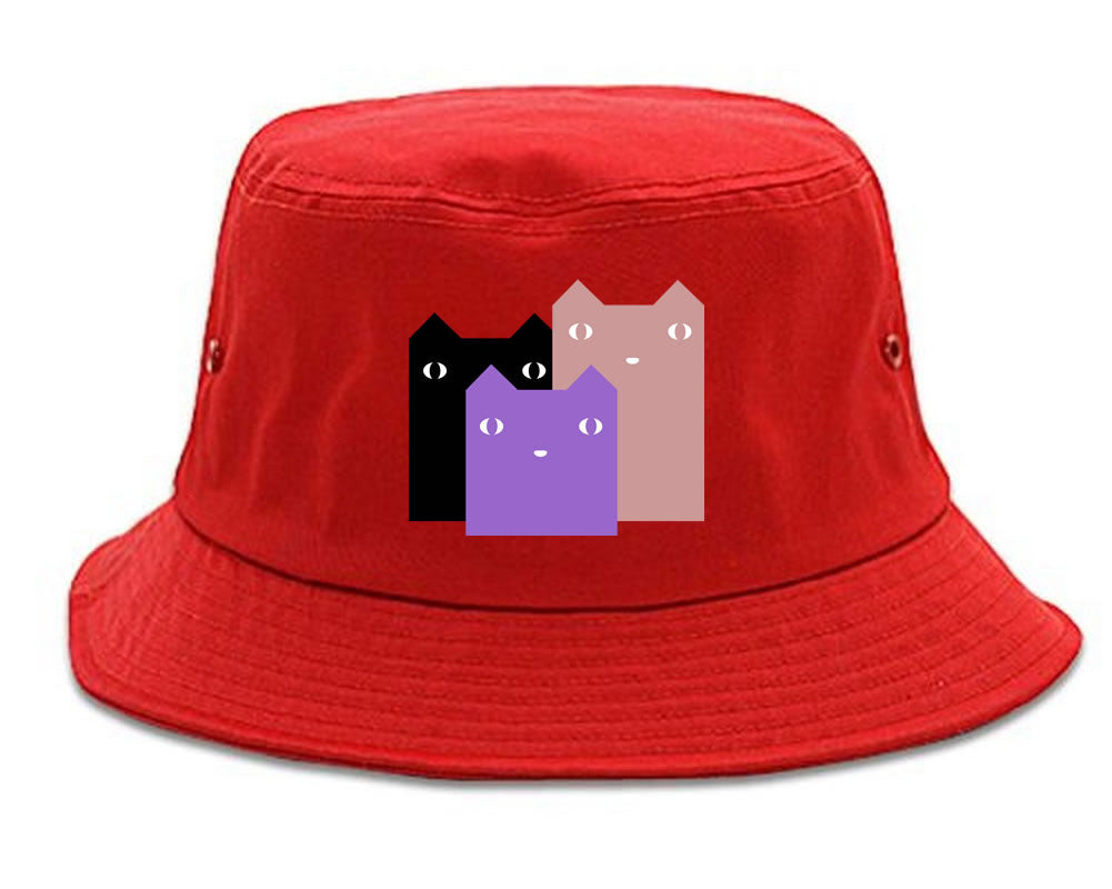 Very Nice Colorful Cute Cats Kitten Kitty Bucket Hat Red