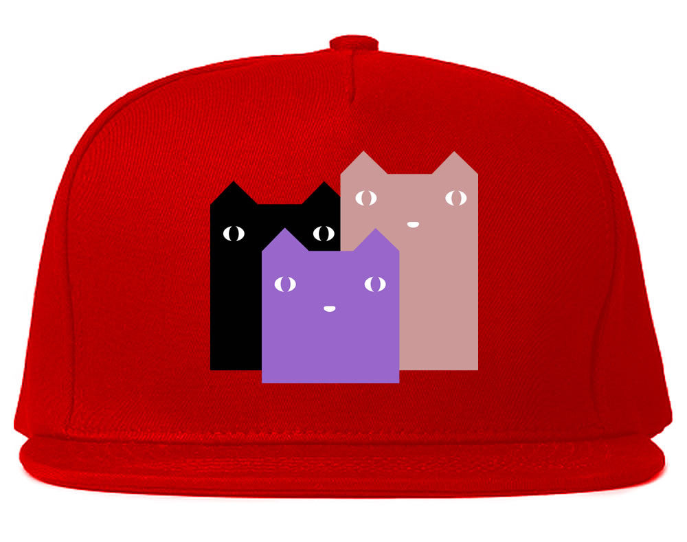Very Nice Colorful Cute Cats Kitten Kitty Snapback Hat Red