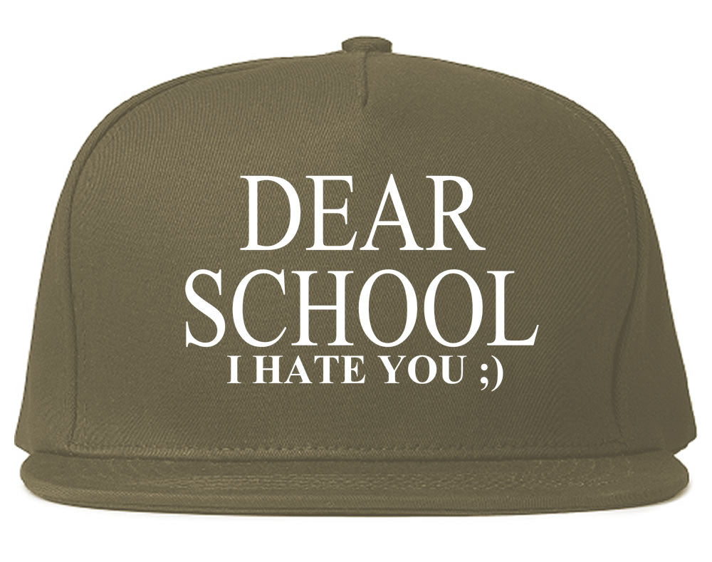 Very Nice Dear School I Hate You Black Snapback Hat