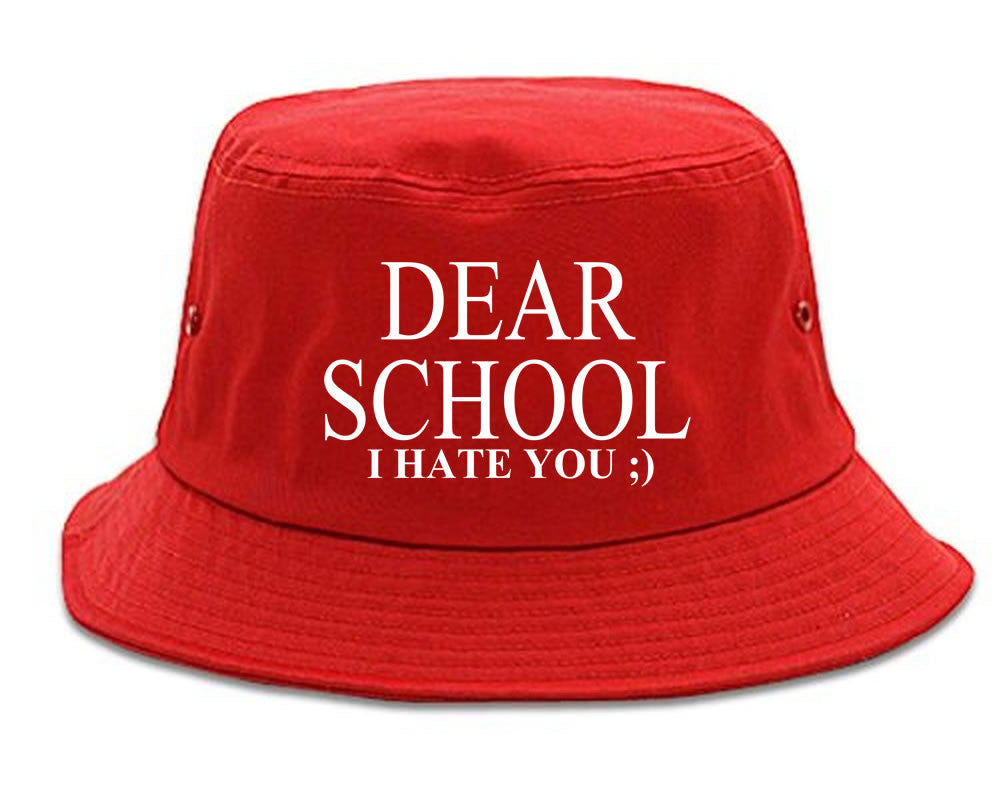 Very Nice Dear School I Hate You Black Bucket Hat Red