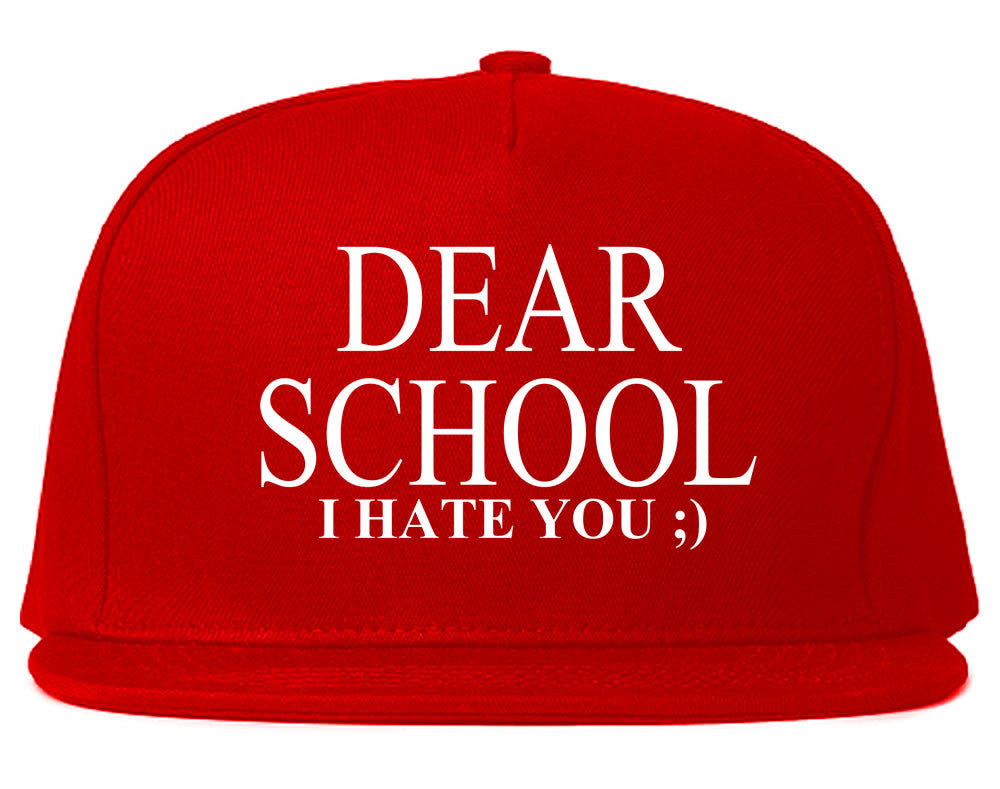 Very Nice Dear School I Hate You Black Snapback Hat Red
