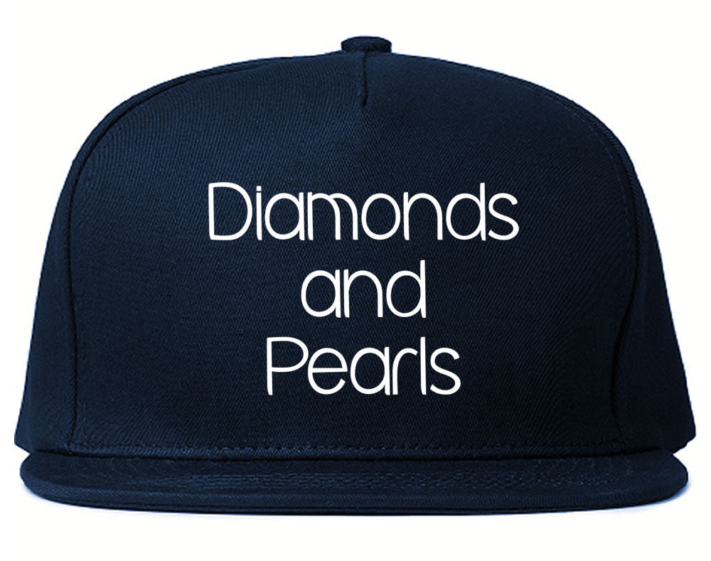 Very Nice Diamonds and Pearls Black Snapback Hat Navy Blue