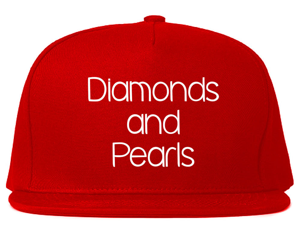 Very Nice Diamonds and Pearls Black Snapback Hat Red