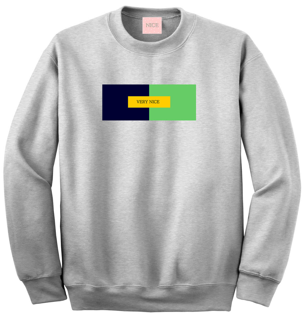 Very Nice Color Block Logo Boyfriend Crewneck Sweatshirt White