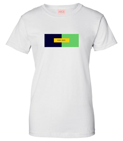 Very Nice Color Block Logo Boyfriend Womens T-Shirt Tee White