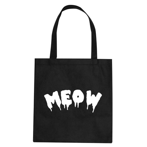 Meow Cute Goth Cat Tote Bag by Very Nice Clothing