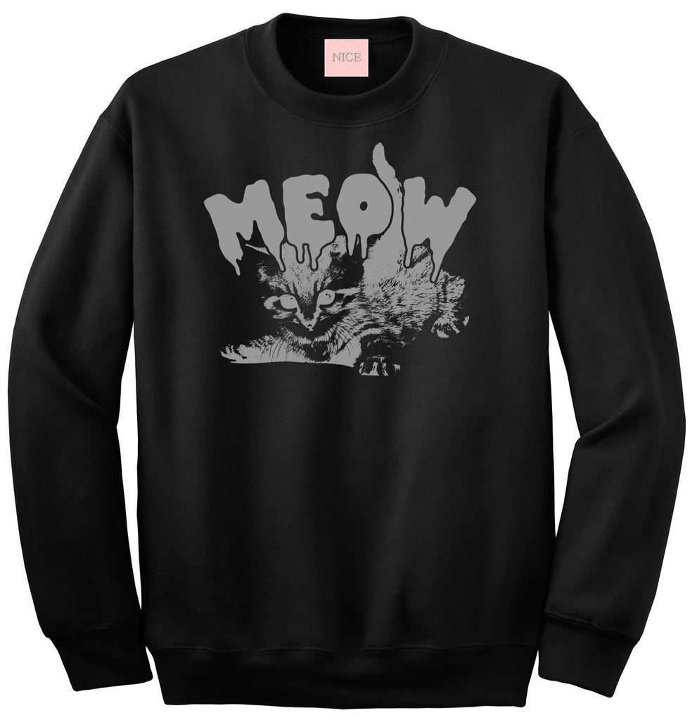 Meow Cute Goth Cat Crewneck Sweatshirt by Very Nice Clothing