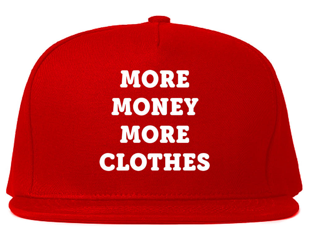 Very Nice More Money More Clothes Snapback Hat Red