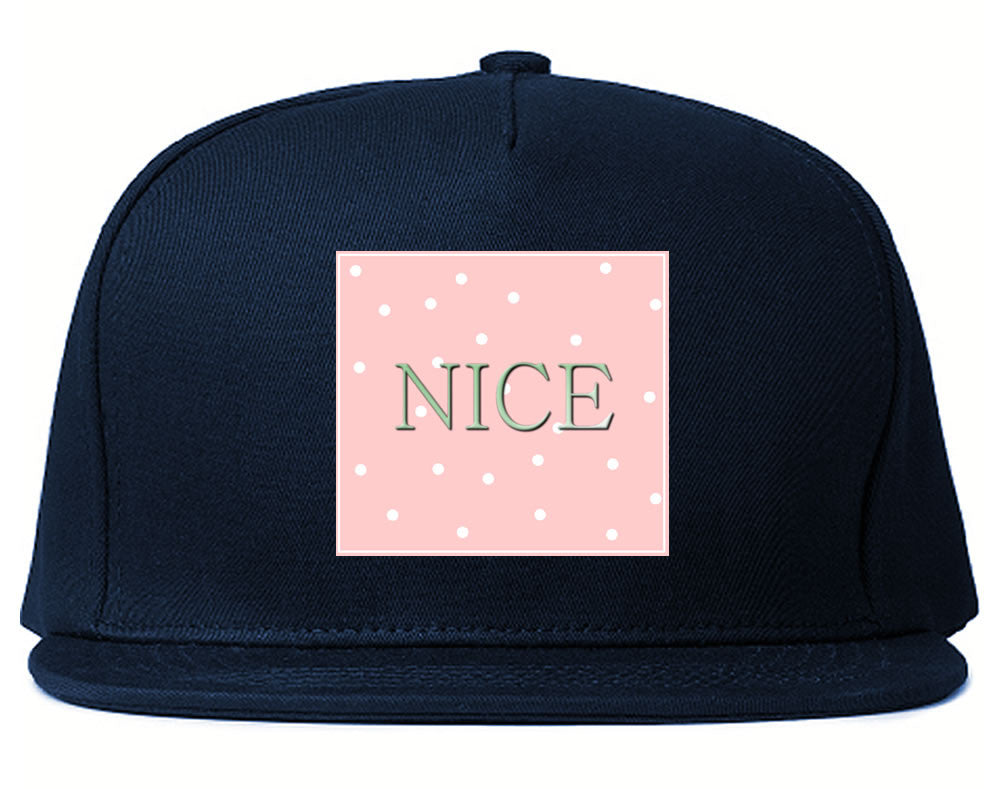 Very Nice Polka Dots Logo Black Snapback Hat Navy Blue