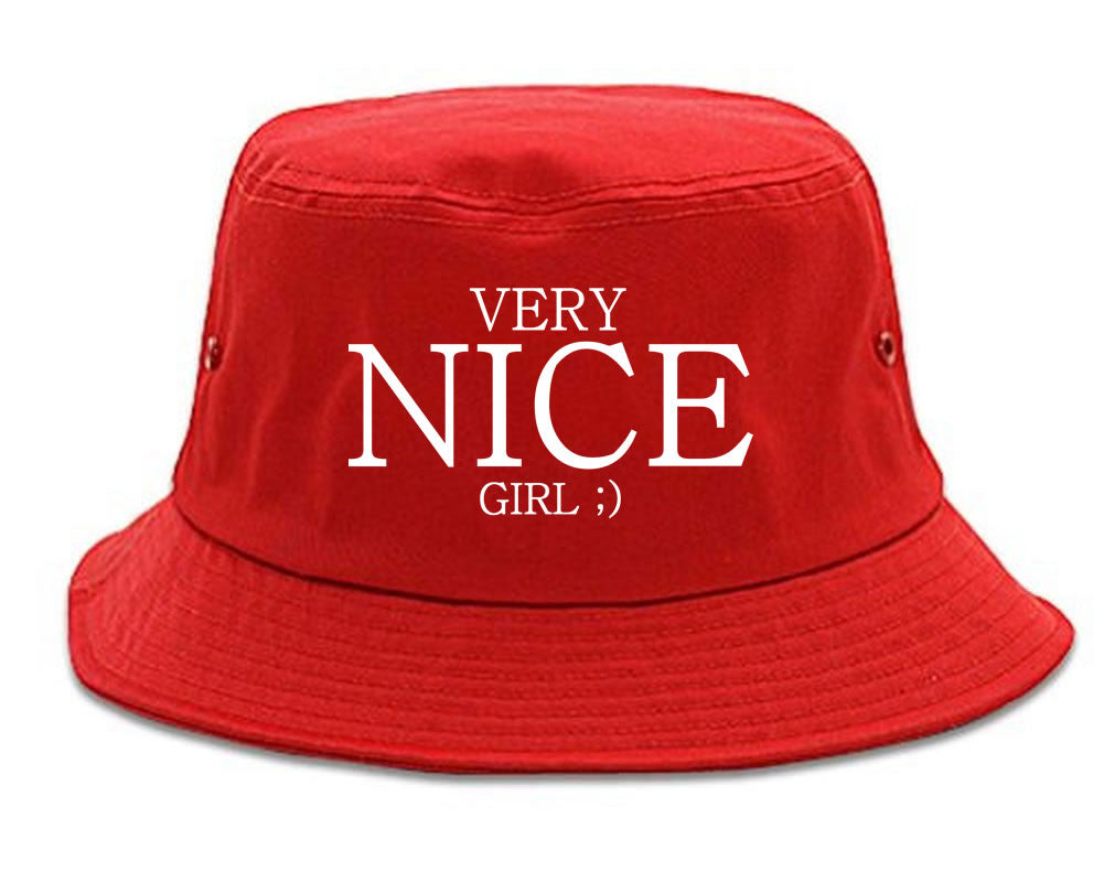 Very Nice Girl Emoji Smiley Face Black Bucket Hat Red
