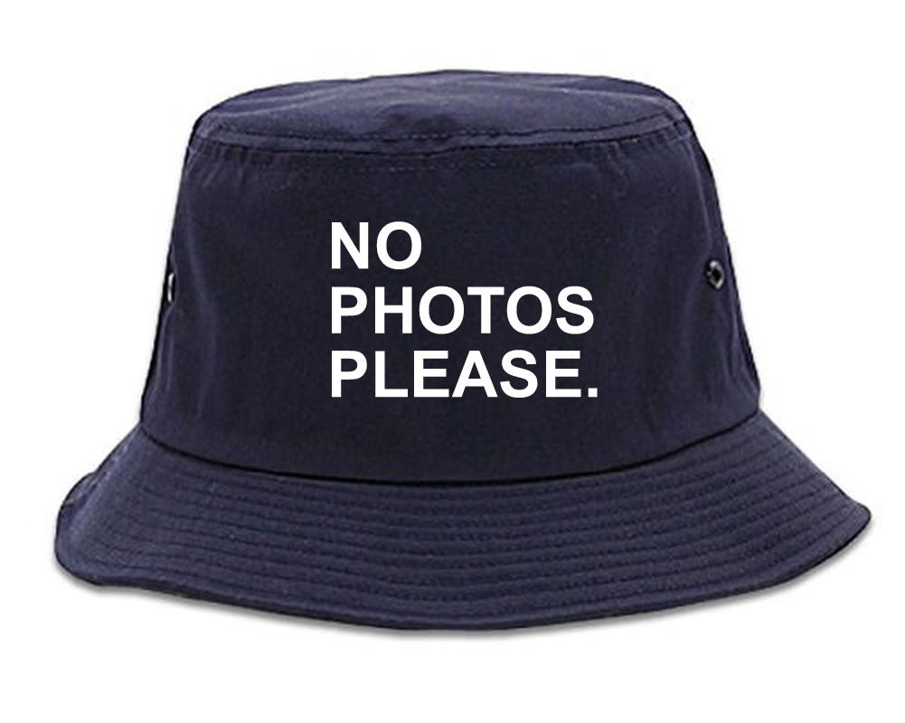 Very Nice No Photoes Please Blogger Bucket Hat Navy Blue