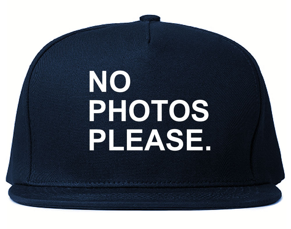 Very Nice No Photoes Please Blogger Snapback Hat Navy Blue