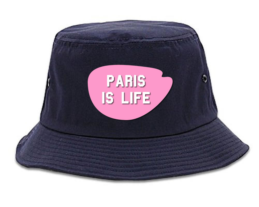 Very Nice Paris Is Life France Black Bucket Hat Navy Blue