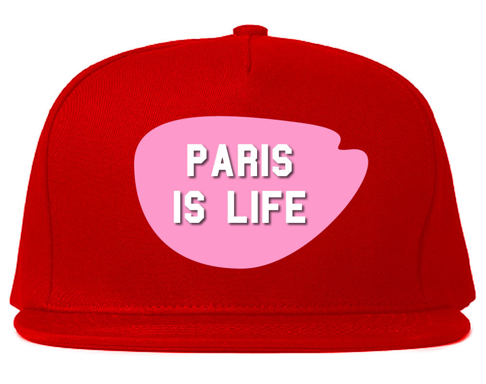 Very Nice Paris Is Life France Black Snapback Hat Red