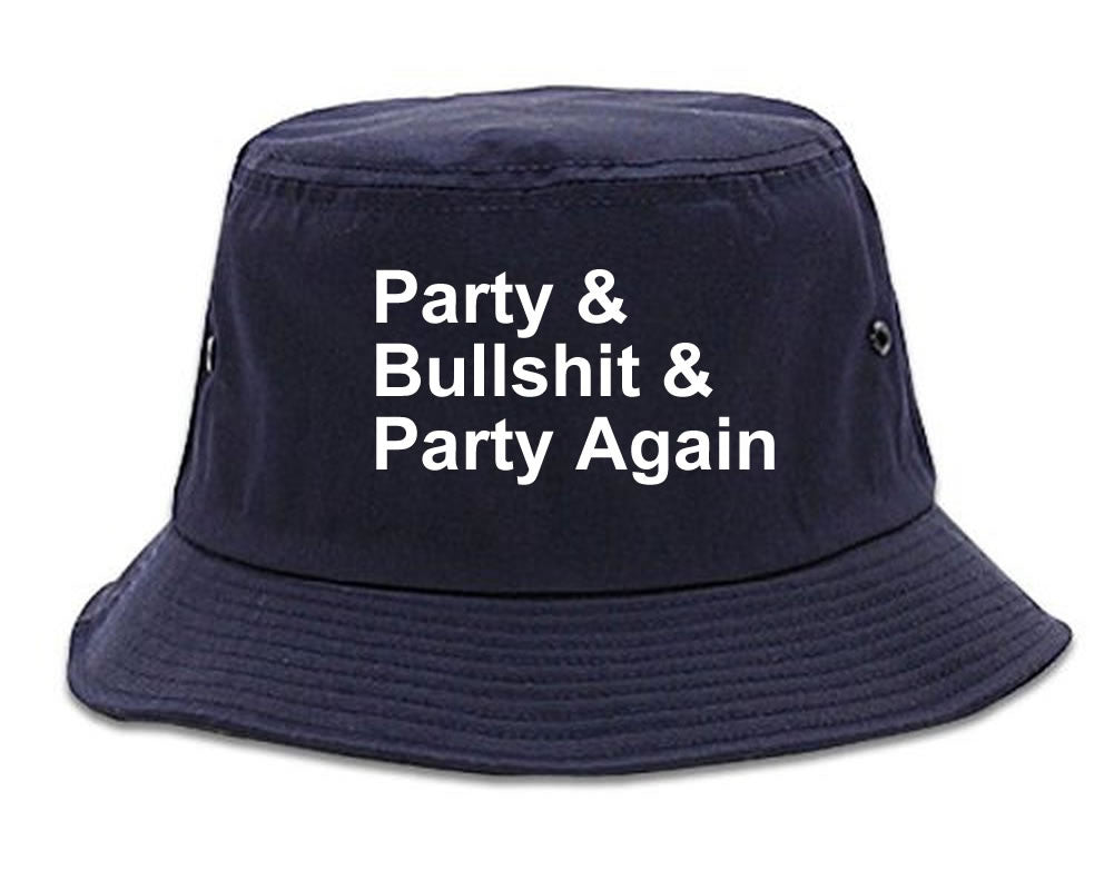 Very Nice Party and Bullshit Black Bucket Hat Navy Blue
