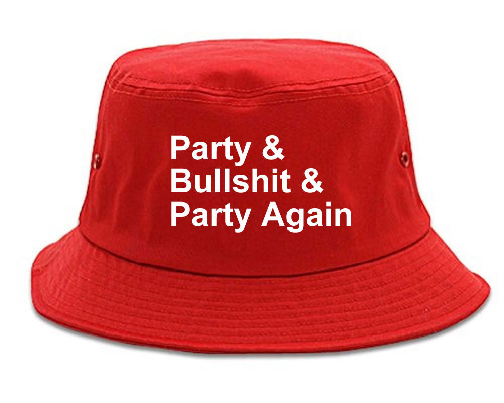 Very Nice Party and Bullshit Black Bucket Hat Red