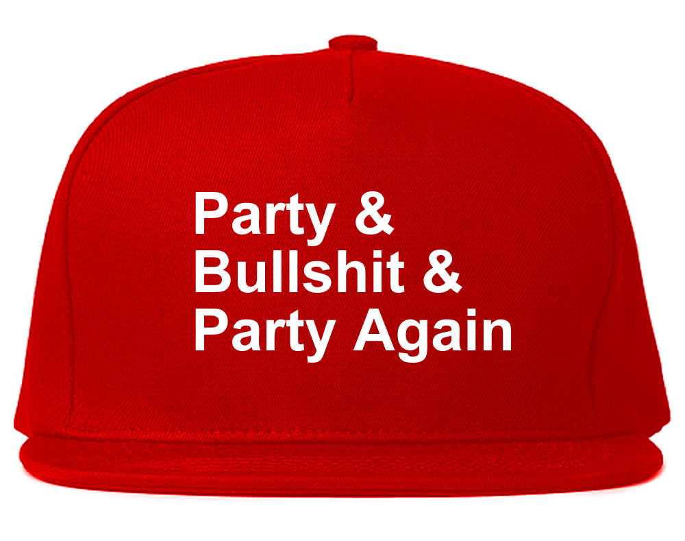 Very Nice Party and Bullshit Black Snapback Hat Red