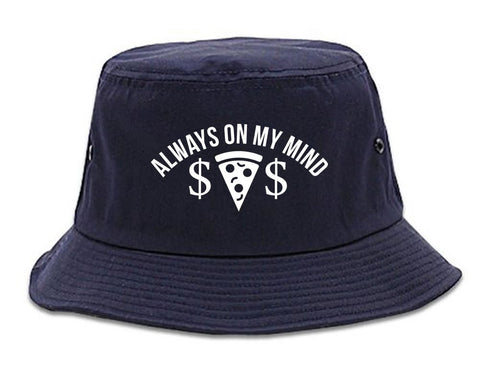 Very Nice Always On My Mind Pizza Money Bucket Hat Navy Blue