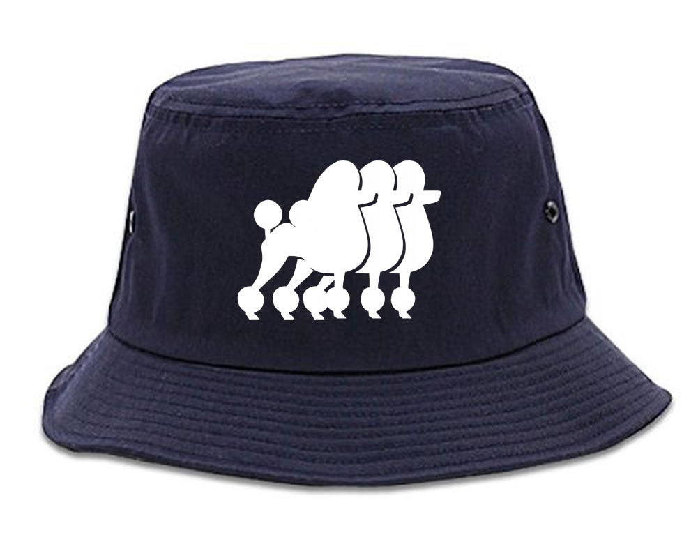 Very Nice Poodle Cute Puppies Dogs Bucket Hat Navy Blue