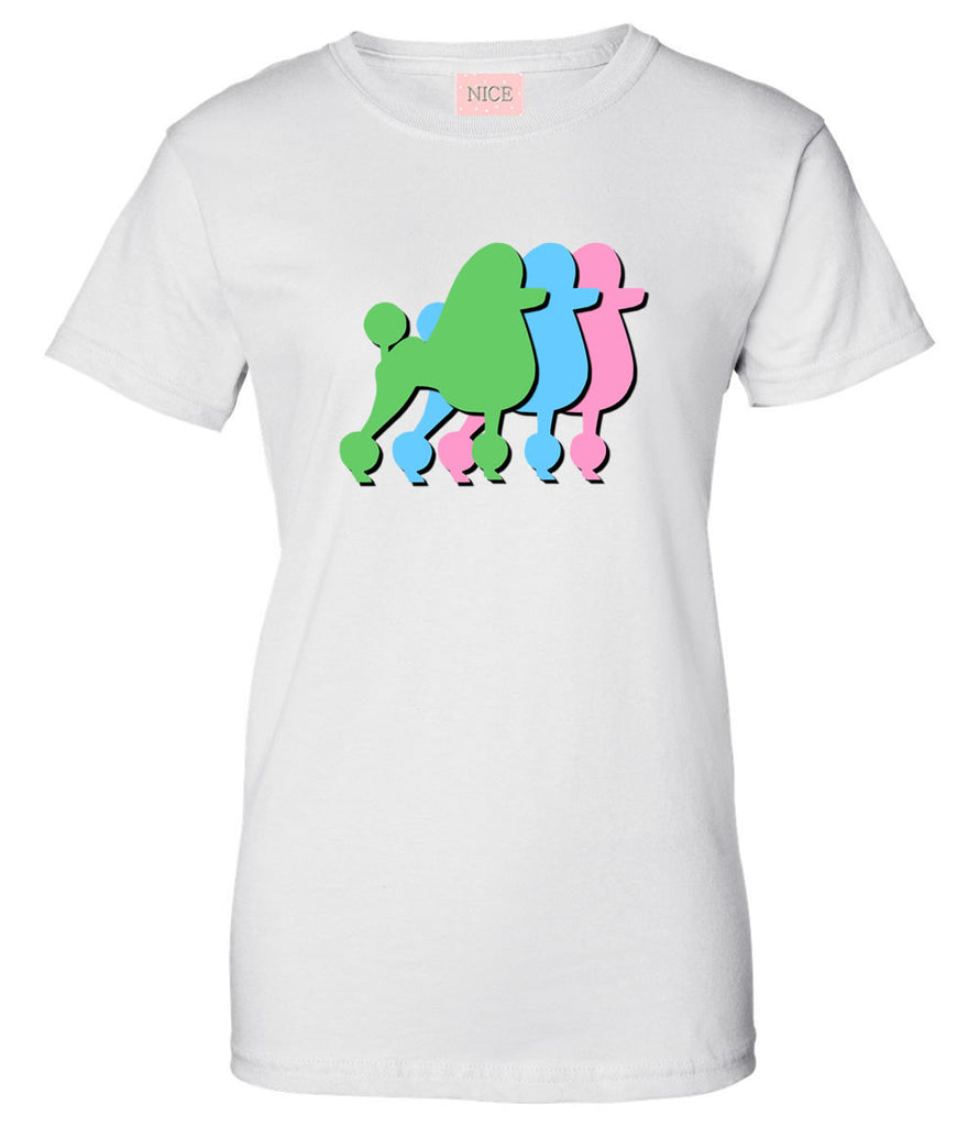 Very Nice Poodles Puppies Dogs Womens T-Shirt Tee White