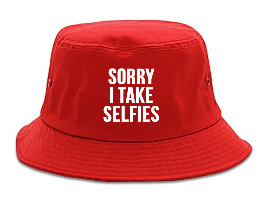 Very Nice Sorry I Take Selfies Kim Black Bucket Hat Red