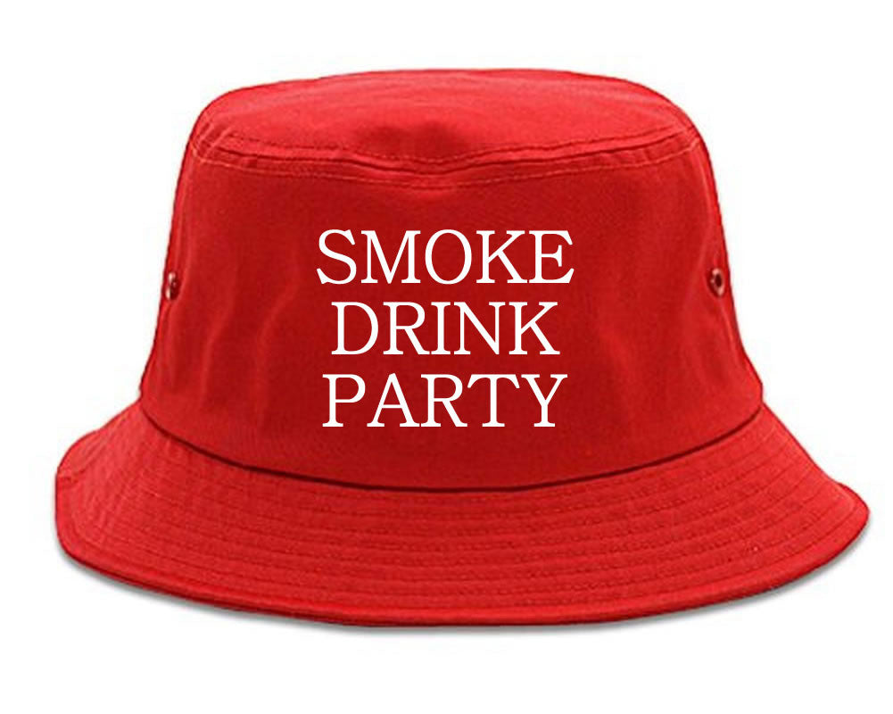 Very Nice Smoke Drink Party Black Bucket Hat Red