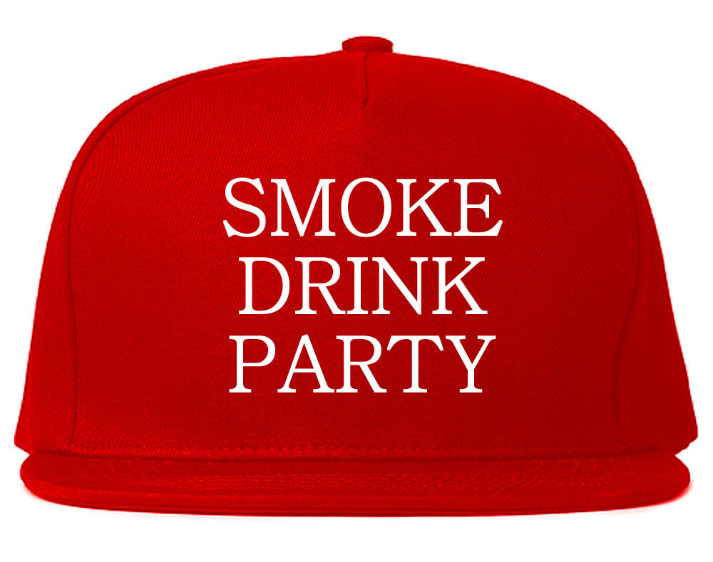 Very Nice Smoke Drink Party Black Snapback Hat Red