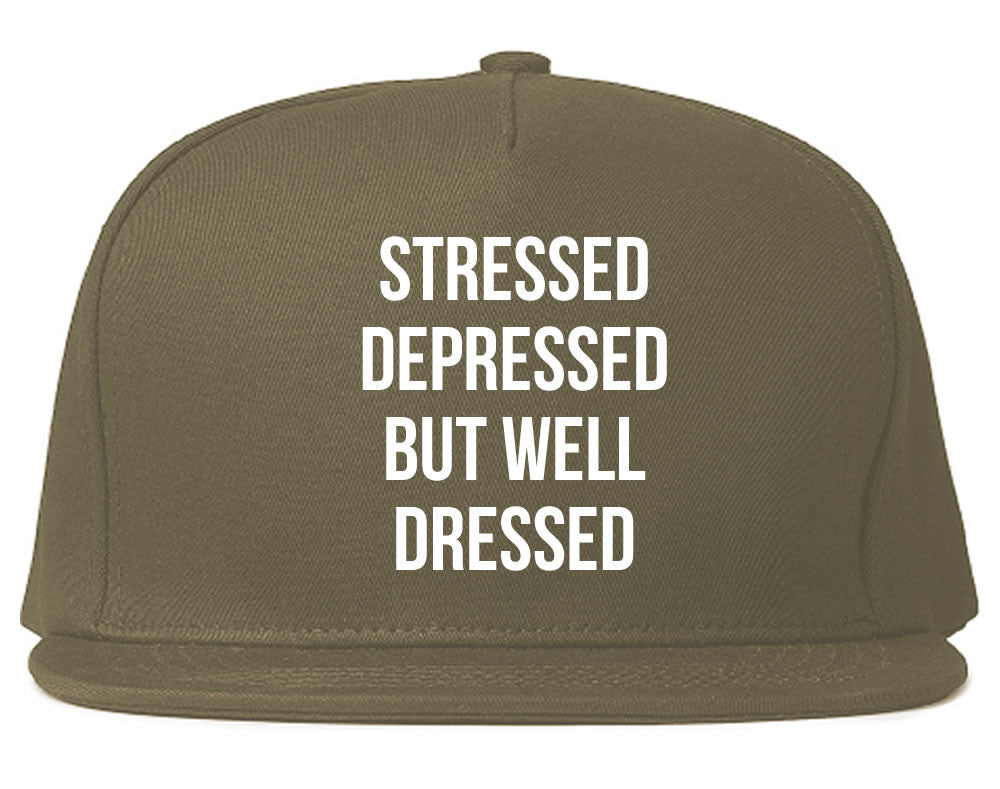 Stressed Depressed But Well Dressed Snapback Hat