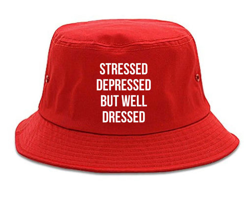 Stressed Depressed But Well Dressed Bucket Hat Red